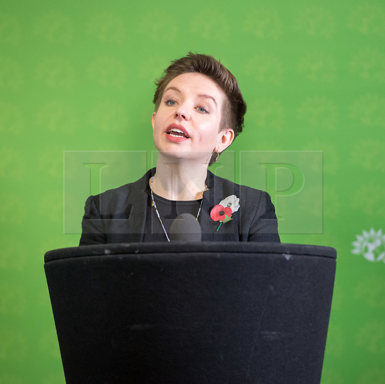 © Licensed to London News Pictures. 06/11/2019. Bristol, UK. General Election 2019; CARLA DENYER Green parliamentary candidate for Bristol West. The Green Party's national campaign event at We The Curious in Bristol Harbourside on the day of the official start of the general election campaign 2019. The Green Party are targeting the seat of Bristol West where the Labour MP Thangam Debbonaire has a large majority but where the Green candidate came first in the elections for the European Parliament. Photo credit: Simon Chapman/LNP.