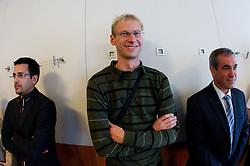Ales Kriznar, Franci Pavser and Roman Volcic at presentation of Eurobasket Slovenia 2013, on September 8, 2011, in Hotel Novotel,  Vilnius, Lithuania.   (Photo by Vid Ponikvar / Sportida)