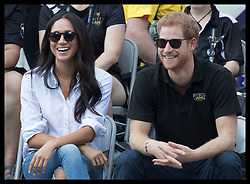 September 25, 2017 - Toronto, Canada - Image licensed to i-Images Picture Agency. 25/09/2017. Toronto, Canada. Prince Harry and Meghan Markle watch the  wheelchair tennis on day three of the Invictus Games in Toronto, Canada.  Picture by Stephen Lock / i-Images (Credit Image: © Stephen Lock/i-Images via ZUMA Press)