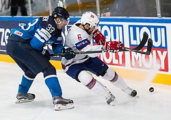 Markus Hannikainen of Finland vs Jonas Holos of Norway during the 2017 IIHF Men's World Championship group B Ice hockey match between National Teams of Norway and Finland, on May 13, 2017 in AccorHotels Arena in Paris, France. Photo by Vid Ponikvar / Sportida