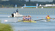 Eton Dorney, Windsor, Great Britain,..2012 London Olympic Regatta, Dorney Lake. Eton Rowing Centre, Berkshire.  Dorney Lake.  ..left GBR M4- Gold Medalist Men's Four, Crew, Bow, Alex GREGORY, Peter REED, Tom JAMES and Andy TRIGGS HODGE, waving to the supporters. AUS M4- right...11:36:07  Saturday  04/08/2012 [Mandatory Credit: Peter Spurrier/Intersport Images]