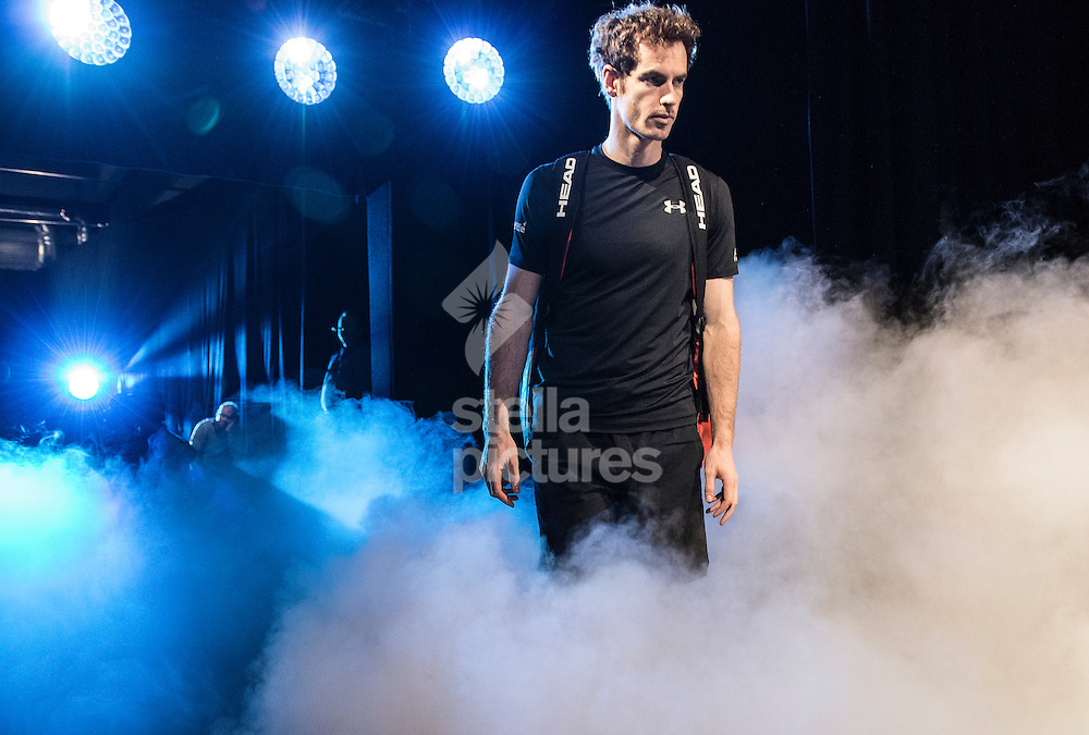 Andy Murray prepares to enter the arena at the Barclays ATP World Tour Finals at the O2 Arena, London<br /> Picture by Daniel Hambury/Stella Pictures Ltd +44 7813 022858<br /> 18/11/2015