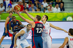 Nando De Colo #12 of France vs Vasilje Micic #6 of Serbia during basketball match between National teams of Serbia and France in Round 2 at Day 12 of Eurobasket 2013 on September 15, 2013 in Arena Stozice, Ljubljana, Slovenia. (Photo by Vid Ponikvar / Sportida.com)