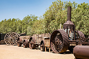 "The 1894 ""Old Dinah"" steam tractor and ore wagons replaced the 20 mule teams at Old Borate (but were in turn replaced by the Borate and Daggett Railroad). See historical mining and transportation equipment at the Borax Museum at Furnace Creek Ranch, in Death Valley National Park, California, USA. The oldest house in Death Valley was built in 1883 by F.M. ""Borax"" Smith in Twenty Mule Team Canyon, then moved here by his Pacific Coast Borax Company in 1954 to serve as a museum."