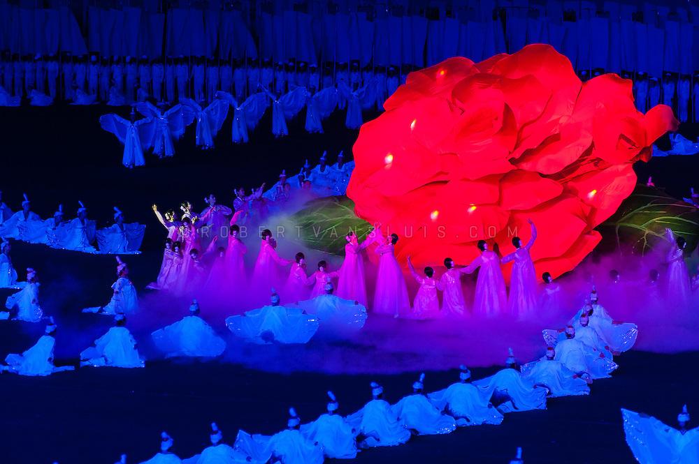 Honoring the Kimjongilia flower at the Arirang Mass Games, Pyongyang, DPRK (North Korea)