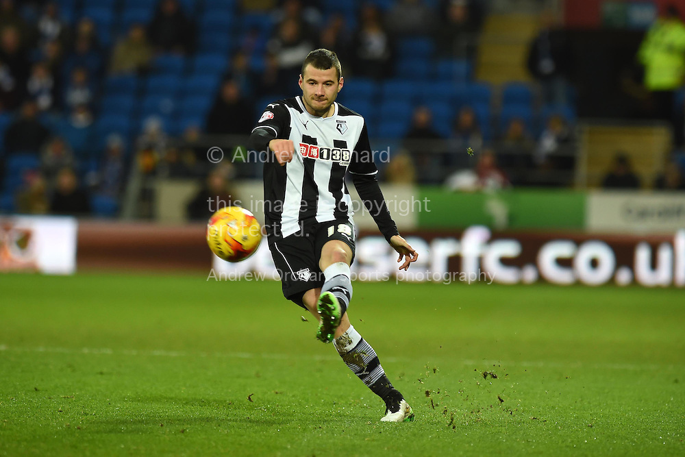 Daniel Pudil of Watford in action. Skybet football league championship match, Cardiff city v Watford at the Cardiff city stadium in Cardiff, South Wales on Sunday 28th December 2014<br /> pic by Andrew Orchard, Andrew Orchard sports photography.