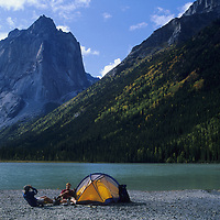 CAMPING, Jared Ogden & Jim Zellers at Glacier Lake, by Cirque of the Unclimbables, NWT,Canada