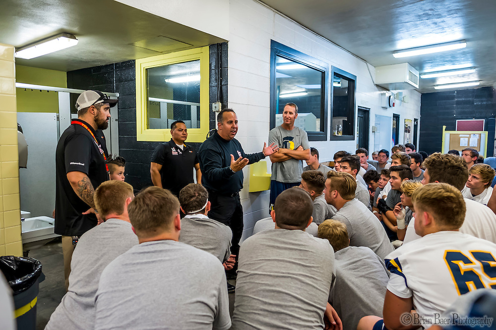 as the Del Oro Golden Eagles varsity football team host the Oak Ridge Trojans, Friday Oct 21, 2016.<br /> photo by Brian Baer