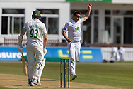 WICKET - Kyle Abbott has Gavin Griffiths trapped LBW during the final day of the LV= Insurance County Championship match between Leicestershire County Cricket Club and Hampshire County Cricket Club at the Uptonsteel County Ground, Leicester, United Kingdom on 11 April 2021.