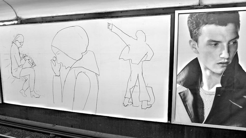 Lina Hagermans teckningar på Fridhemsplans tunnelbanestation i Stockholm