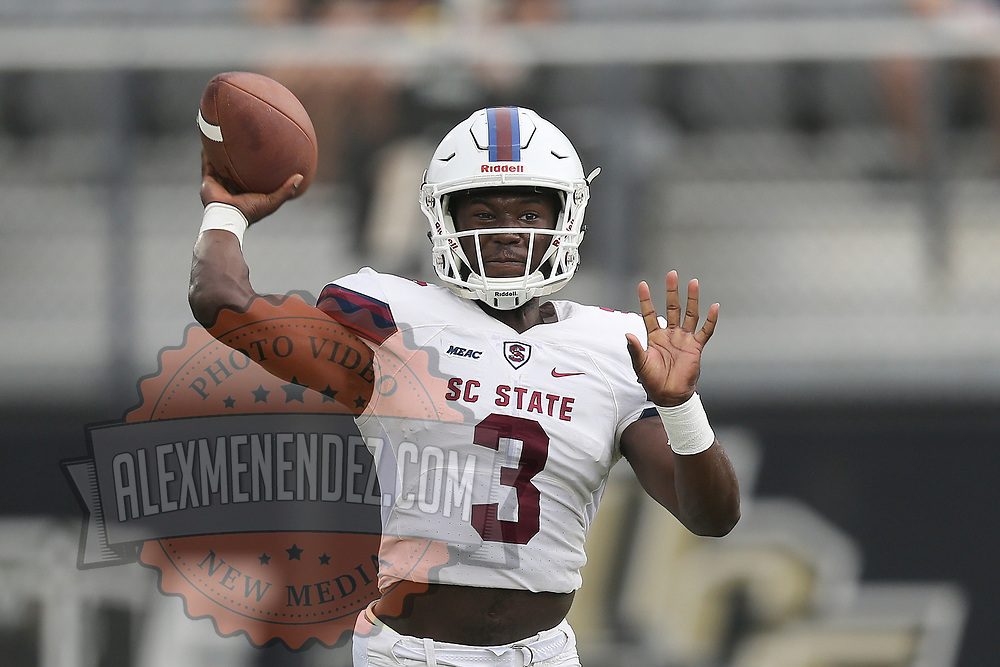 ORLANDO, FL - SEPTEMBER 08:  Tyrece Nick #3 of the South Carolina State Bulldogs is seen during a football game against the UCF Knights at Spectrum Stadium on September 8, 2018 in Orlando, Florida. (Photo by Alex Menendez/Getty Images) *** Local Caption *** Tyrece Nick