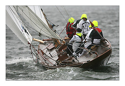 Sailing -Racing started at the 8 metre World Championship 2007 held on the Clyde at The Royal Northern & Clyde YC as part of it's Centennial year..Damp and windy conditions for the first race with a complete change for the afternoon race which was abandoned as wind died away..First Rule gaff rigged Sposa H 4.