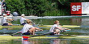 Lucerne, SWITZERLAND. A Final, USA W2-  bow Eleanor LOGAN and Caroline LIND,   silver medalist,  have the edge on team mates and bronze medalist, Portia McGEE and Anna CUMMIN at the  2008 FISA World Cup Regatta, Round 2.  Lake Rotsee, on Sunday, 01/06/2008.   [Mandatory Credit:  Peter Spurrier/Intersport Images].Lucerne International Regatta. Rowing Course, Lake Rottsee, Lucerne, SWITZERLAND.