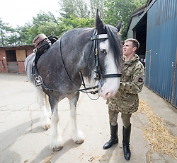 Lance corporal Richard Brown with his horse Mercury. Band of the Household Cavalry at their stables in Tower Farm, Liberton, Edinburgh