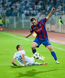 Zoran Kvrzic #20 of HNK Rijeka vs. Goran Jozinovic #17 of HNK Hajduk Split during football match between HNK Rijeka and HNK Hajduk Split in 11th Round of Prva Hrvaska Nogometna Liga MaxTV 2013/14 on September 28, 2013 in Stadion Kantrida, Rijeka, Croatia. (Photo By Urban Urbanc / Sportida.com)