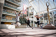 Red Bull Flying Bach dancers perform at the Denver Performing Arts Complex in Denver, CO, USA, on 21 October, 2016.