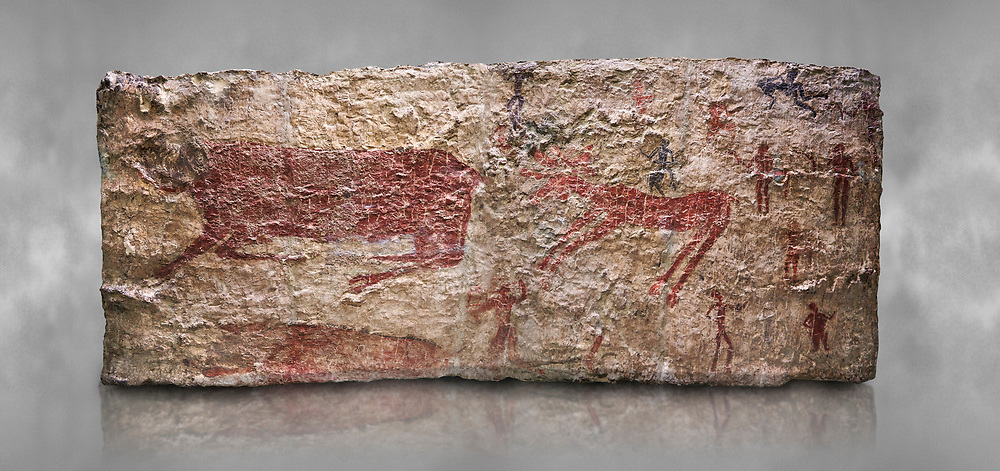 Hunting scene. A deer and wild boar are depicted being hunted with people using bows and arrows. One person is depcted trying to net the boar. 6000 BC,  Catalhoyuk Collections. Museum of Anatolian Civilisations, Ankara. Against a gray mottled background .<br /> <br /> If you prefer you can also buy from our ALAMY PHOTO LIBRARY  Collection visit : https://www.alamy.com/portfolio/paul-williams-funkystock/prehistoric-neolithic-art.html - Type Catalhoyuk into the LOWER SEARCH WITHIN GALLERY box. Refine search by adding background colour, place, museum etc.<br /> <br /> Visit our PREHISTORIC PLACES PHOTO COLLECTIONS for more  photos to download or buy as prints https://funkystock.photoshelter.com/gallery-collection/Prehistoric-Neolithic-Sites-Art-Artefacts-Pictures-Photos/C0000tfxw63zrUT4