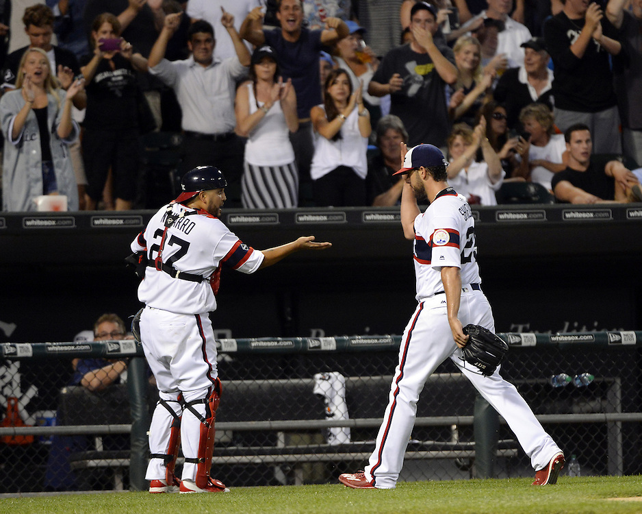 CHICAGO - JULY 26:  James Shields #25 celebrates with Dioner Navarro #27 of the Chicago White Sox during the game against the Chicago Cubs on July 26, 2016 at U.S. Cellular Field in Chicago, Illinois.  The White Sox defeated the Cubs 3-0.  (Photo by Ron Vesely) Subject:    James Shields; Dioner Navarro