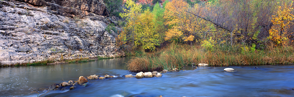 The Verde River flows past trees in fall colors in central Arizona