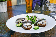 herring sandwich. Photographed in Jurmala, Latvia