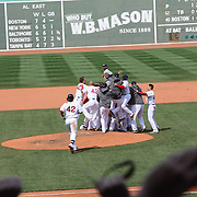 Boston Red Sox celebrate their  3-2 win over the Tampa Bay Rays after a hit from Mike Napoli in the ninth innings during the Boston Red Sox V Tampa Bay Rays, Major League Baseball game on Jackie Robinson Day, Fenway Park, Boston, Massachusetts, USA, 15th April, 2013. Photo Tim Clayton