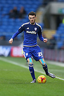 Scott Malone of Cardiff city in action. Skybet football league championship match, Cardiff city v Blackburn Rovers at the Cardiff city stadium in Cardiff, South Wales on Saturday 2nd Jan 2016.<br /> pic by Andrew Orchard, Andrew Orchard sports photography.