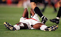 Kanu holds his head in dispair after his shot goes just wide of the goal. Arsenal 3:2 FC Shakhar Donetsk, UEFA Champions League, Group B, 20/9/2000. Credit Colorsport / Stuart MacFarlane