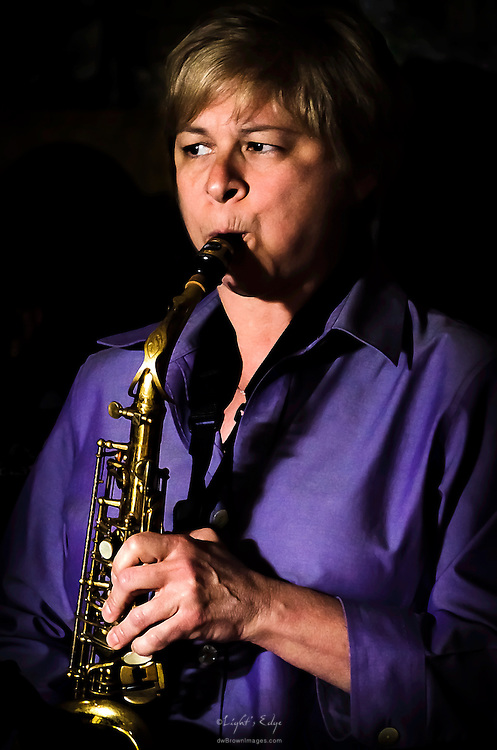 Deb Sheldon on sax performing with West River Drive at The Bus Stop Music Cafe in Pitman, NJ.