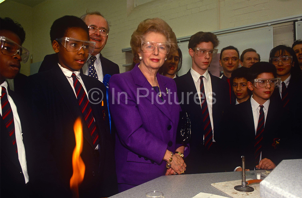 While campaigning during John Majors election campaign, ex-Prime Minister Margaret Thatcher visits a chemistry class at a north London school on 1st March 1992 in London, England. Originally a research chemist before becoming a barrister, Thatcher was elected Member of Parliament for Finchley in 1959. Her political career was over in 1990 after a leadership challenge and she died in 2013.