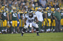 Najee Goode #53 of the Philadelphia Eagles against the Green Bay Packers at Lambeau Field on August 29, 2015 in Green Bay, Pennsylvania. The Eagles won 39-26. (Photo by Drew Hallowell/Philadelphia Eagles)
