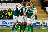 Hibs players celebrate their 1st goal of the game from Captain David Gray during the Ladbrokes Scottish Premiership match between St Mirren and Hibernian at the Simple Digital Arena, Paisley, Scotland on 29th September 2018.