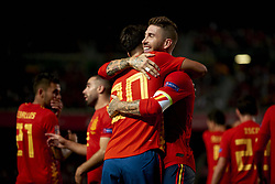 September 11, 2018 - Elche, Spain - Marco Asensio of Spain  celebrates goal with team mates Sergio Ramos of Spain  during the UEFA Nations League football match between Spain and Croatia at Martinez Valero Stadium in Elche, Spain on September 8, 2018. (Credit Image: © Jose Breton/NurPhoto/ZUMA Press)
