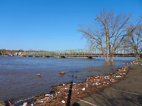 Delaware River -- Flood Stage. Lambertville and New Hope Bridge from the Lambertville Inn Parking Lot. Image taken with a Leica D-Lux 5 (ISO 100, 5.1 mm, f/4, 1/1000 sec).