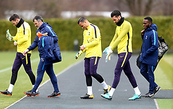 Tottenham Hotspur goalkeeper Hugo Lloris (left), goalkeeper Michel Vorm (centre), goalkeeper Paulo Gazzaniga (second right) and goalkeeper coach Toni Jimenez (second left) during the training session at Tottenham Hotspur Football Club Training Ground, London.