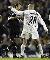 Photo. Aidan Ellis, Digitalsport.<br /> Leeds United v Leicester City.<br /> FA Barclaycard Premiership.<br /> 05/04/2004.<br /> Leeds Seth Johnson argues with  Leicester's Nicolas Dabizas