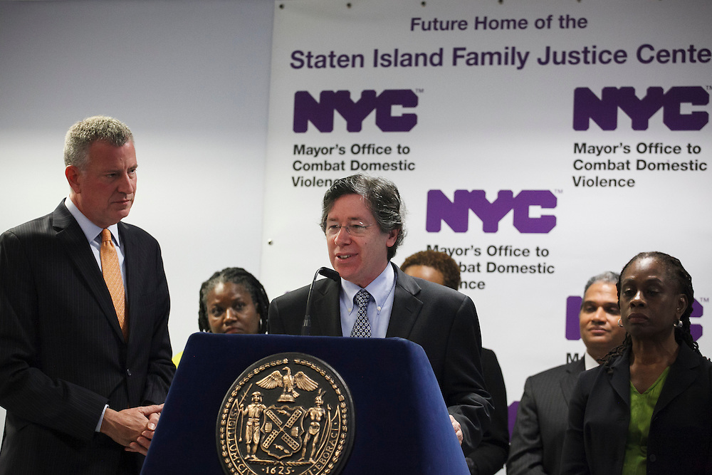 Mayor Bill de Blasio watches as Acting Staten Island District Attorney Daniel L. Master speaks at the groundbreaking of the Staten Island Family Justice Center, 126 Stuyvesant Place, Staten Island, NY on Monday, Oct. 5, 2015.<br /> <br /> Andrew Hinderaker for The Wall Street Journal<br /> NYSTANDALONE