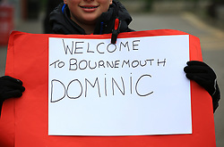 Signage welcoming new signing Bournemouth's Dominic Solanke outside the ground before the Emirates FA Cup, third round match at the Vitality Stadium, Bournemouth.