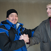 Date: 2/6/15<br /> Desk: SCI<br /> Slug: SUPER UTILIZERS<br /> Assign Id: 30170556A<br /> <br /> <br /> Prugh Jose, 42, left, a homeless man who is a client of the Hennepin Health RESOURCE Chemical and Mental Health emergency department in reach program in Minneapolis (Hennepin County), Minnesota poses for a portrait with his case manager TJ Redig, 28, as he arrives for a scheduled dental appointment at the Hennepin County Medical Center's Dental & Oral Surgery Clinic on February 6, 2015. <br /> <br /> Photo by Angela Jimenez for The New York Times <br /> photographer contact 917-586-0916