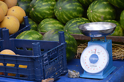 June 21, 2017 - Ankara, Turkey - 60 and 77-year-old two peddlers sell melons and watermelons on their truck in the holy month of Ramadan in Ankara, Turkey on June 21, 2017. (Credit Image: © Altan Gocher/NurPhoto via ZUMA Press)