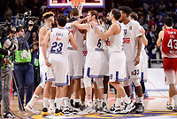 Real Madrid's Jeffery Taylor, Sergio Llull, Anthony Randolph, Andres Nocioni, Felipe Reyes and Trey Thompkins during Turkish Airlines Euroleage match between Real Madrid and EA7 Emporio Armani Milan at Wizink Center in Madrid, Spain. January 27, 2017. (ALTERPHOTOS/BorjaB.Hojas)