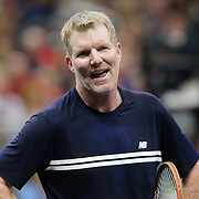 Tennis player Jim Courier is seen during the PowerShares Tennis Series event at the Amway Center on January 5, 2017 in Orlando, Florida. (Alex Menendez via AP)