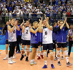 September 16, 2018 - Varna, Bulgaria - Finish player greet their fans after the victory.FIVB Volleyball Men's World Championship 2018, pool D, Puerto Rico vs Finland, Sept 16, 2018, . Palace of Culture and Sport, Varna/Bulgaria, .the teams of Finland, Cuba, Puerto Rico, Poland, Iran and co-host Bulgaria are playing in pool D in the preliminary round. (Credit Image: © Wolfgang Fehrmann/ZUMA Wire)