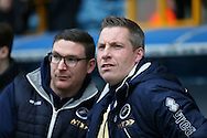 Neil Harris, the Millwall manager (r)  looking on. The Emirates FA Cup 3rd round match, Millwall v AFC Bournemouth at The Den in London on Saturday 7th January 2017.<br /> pic by John Patrick Fletcher, Andrew Orchard sports photography.