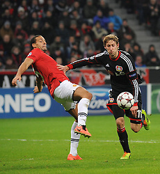 27.11.2013, BayArena, Leverkusen, GER, UEFA CL, Bayer Leverkusen vs Manchester United, Gruppe A, im Bild Stefan Kiessling ( rechts Bayer 04 Leverkusen ) im Zweikampf mit Rio Ferdinand ( links Manchester United / Action / Aktion ) // during UEFA Champions League group A match between Bayer Leverkusen vs Manchester United at the BayArena in Leverkusen, Germany on 2013/11/28. EXPA Pictures © 2013, PhotoCredit: EXPA/ Eibner-Pressefoto/ Thienel<br /> <br /> *****ATTENTION - OUT of GER*****