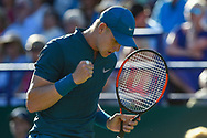 Kyle Edmund of Great Britain fist pumps during the Nature Valley International at Devonshire Park, Eastbourne, United Kingdom on 27 June 2018. Picture by Martin Cole.