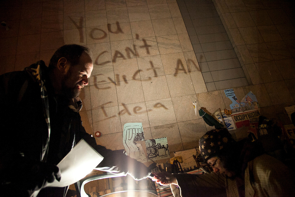 Occupy Boston protesters prepare for general assembly before imminent eviction in Boston, Massachusetts, December 8, 2011.