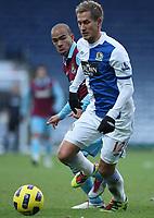 Football - Premier League - Blackburn vs. West Ham<br /> West Ham's Kieron Dyer and Morten Gamst Pedersen of Blackburn Rovers in action at Ewood Park