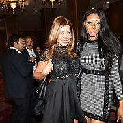 """Keisha White and Linda Sard attend Photocall in London Premiere of """"Parwaaz Hai Junoon"""" (Soaring Passion) as featured on SKY, ITV at The May Fair Hotel, Stratton Street, London, UK. 22 August 2018."""