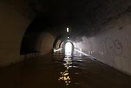 Paris . Flooding . The Seine river.   the tunnel under the Caroussel Bridge