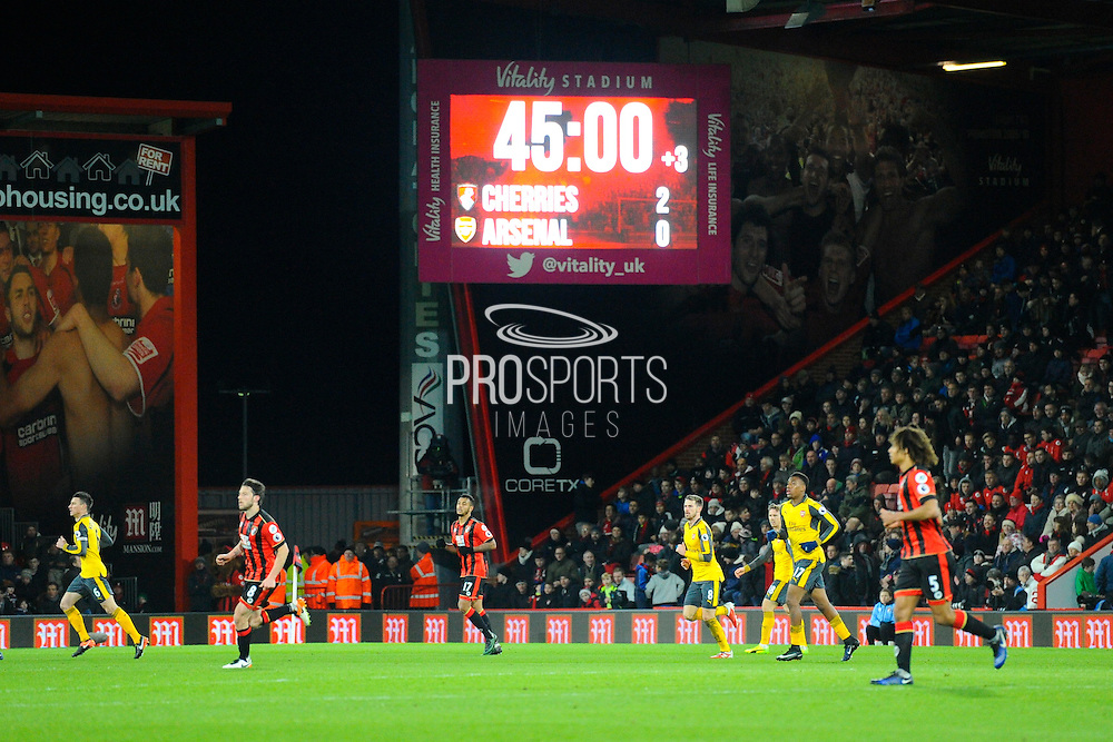 2-0 scoreline to Bournemouth at half time during the Premier League match between Bournemouth and Arsenal at the Vitality Stadium, Bournemouth, England on 3 January 2017. Photo by Graham Hunt.